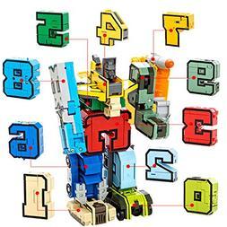 Alphabet Robot 0-9 digital Toys Transformers Set for Kids Le