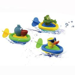YOSWAN Amphibious Pull and Go Car Playset Bathing Soft Rubbe