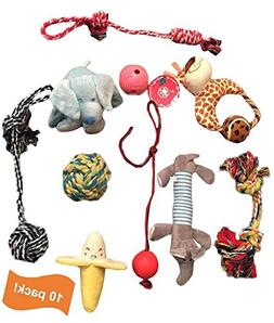 Assorted 10 pack of dog toys: rope, ball, squeaky, plush, an