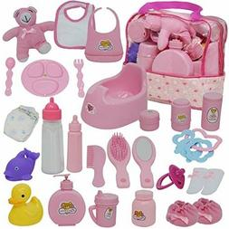 Baby Doll Feeding Changing Potty Toy Bag Set 28 Accessories