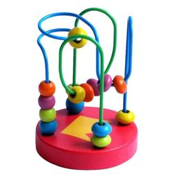 Baby Kids Wood Around Beads Wire Maze Math Toy Learning Educ