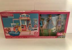 BARBIE 2-Story House W/ 3 Dolls Fully FURNISHED FXN66 New Se