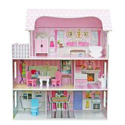 Doll House Playset Pink 3 Layers Room Toy birthday Girl Home