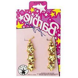 Barbie for Girls Gold Star Clip On Dangle Earrings Dress Up