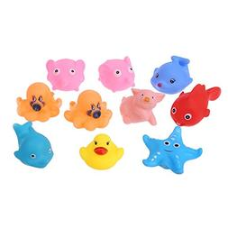 EA-STONE Baby Children Bath Pool Toy--10 pcs Soft Rubber Flo