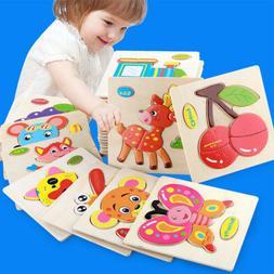 Cartoon Animal Wooden Jigsaw Puzzles Developmental Toys Baby