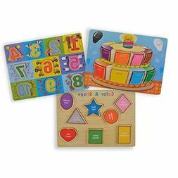 classic wooden puzzles set toddlers pre kindergarten
