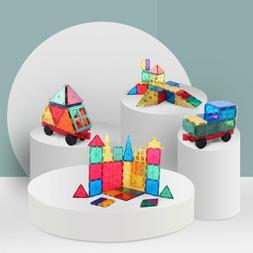 100-Piece Clear Multi Colors Magnetic Tiles Building Set Car