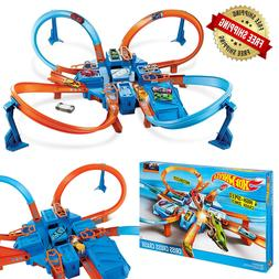 Hot Wheels Criss Cross Crash Track Set Motorized 4 Zones Toy