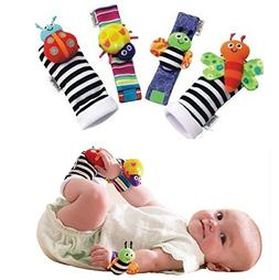 YOUTO Cute Soft Infant Toy Wrist Rattles for Hands Foots Fin