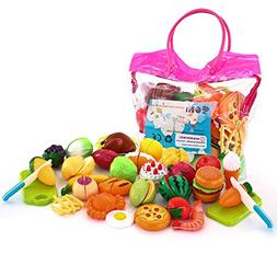 SONi 32PCS Cutting Toys Pretend Food Fruits Vegetable Playse