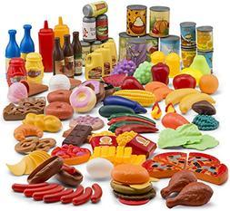 JaxoJoy 122-Piece Deluxe Pretend Play Food Set Beautiful Toy