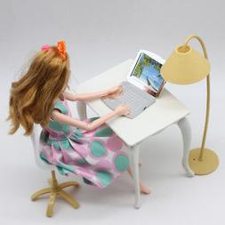 Desk Laptop Lamp Chair Furniture Set for Doll House Decor Ki
