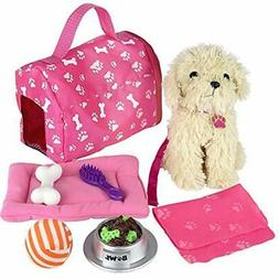 Click n' Play 9 piece Doll Puppy Set and Accessories. Perfec