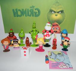 Fun Book and Eraser Dr Seuss The Grinch Movie Figure Set of 14 w// 12 Figures