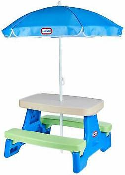 Little Tikes Easy Store Jr. Picnic Table with Umbrella - Blu