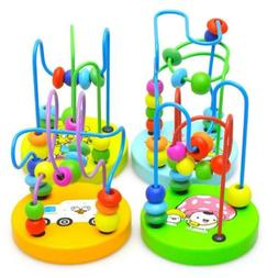 Educational Baby Kids Wooden Around Beads Toy Infant Toddler