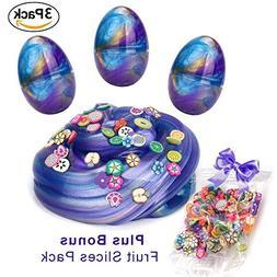 Pack of 3 Egg Putty Slime Galaxy Kit + Bonus Fruits for Slim