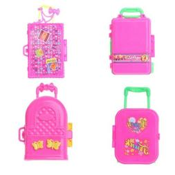 Fashion Travel Suitcase Doll Accessories Kids Toys Luggage F