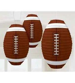 Set of 3 Football-Shaped Paper Lanterns - 13.5 Inches