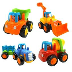 Friction Powered Cars, Push and Go Toys for Baby Toddlers- D