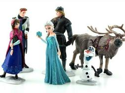 Frozen Figurines Set of 6 Birthday Cake Toppers Gift Plastic