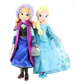 """Disney Frozen Princess Anna & Elsa Plush Set 16"""" Doll Stuffe"""