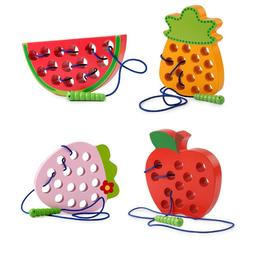 Fruit Lacing Threading Toy Fun Learning Game for Kids Builds