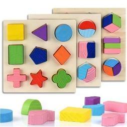 Geometric Shape Sorter Wooden Puzzle Jigsaw for Kids Prescho