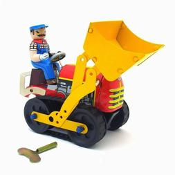 Hand-Made Iron Bulldozer Wind-up Toys Adult Collection Tin V