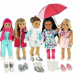 PZAS Toys 18 Inch Doll Clothes - 5 Winter Outfit Set with Ac
