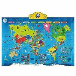 Interactive Talking World Map For Kids Push Learn And Discov