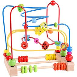Bead Maze Toy for Toddlers Wooden Colorful Roller Coaster Ed