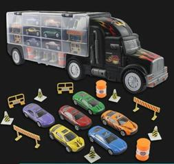 Kids 2-Sided Transport Car Carrier Semi Truck Toy With 7 Car
