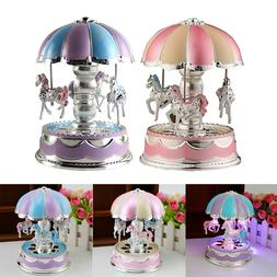 Kids Baby Girl Boy LED Horse Carousel Music Box Toys Musical