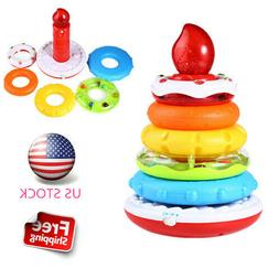 Kids Electronic Birthday Cake Piling Ring Learning Education