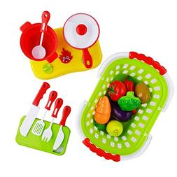 Acekid 20pcs Cutting Food Set Kid Pretend Cooking Toys Plays