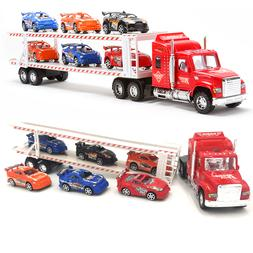 Kids Toy Tow Truck 6 Cars Friction Heavy Sports Racer Contai
