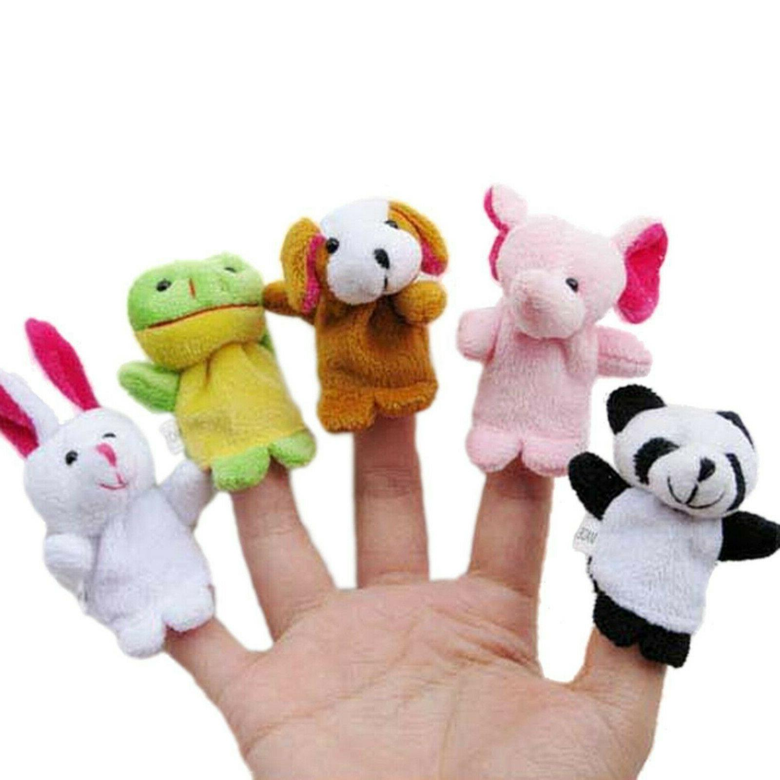 10PCS Fingertip Animal Toys Cloth Cartoon Dolls Puppets Developmental Baby