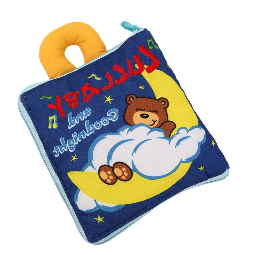 12 pages Soft Cloth Baby Boys Books Rustle Sound Infant Educational Toys