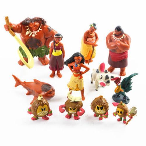 12pcs Set Moana Figurine Cake Topper Maui Pua Heihei Kids
