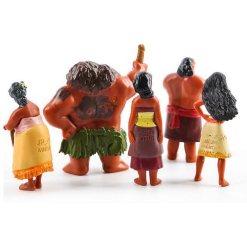 12pcs Set Moana Figurine Cake Topper Maui Pua Doll