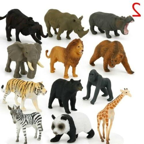 12x Small Figures Plastic Animals Dinosaur