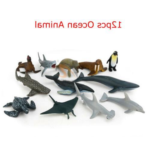 12PCS Plastic Ocean Wild Farm Kids Toys Play Set