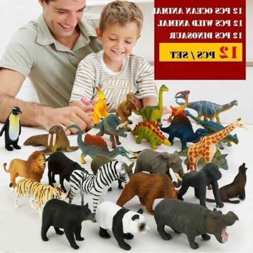 12x kids small figures plastic wild farm