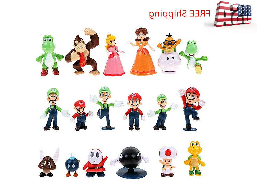 """18 Pcs/Set Super Mario Brothers Bros Action Figures Toy- 2"""""""
