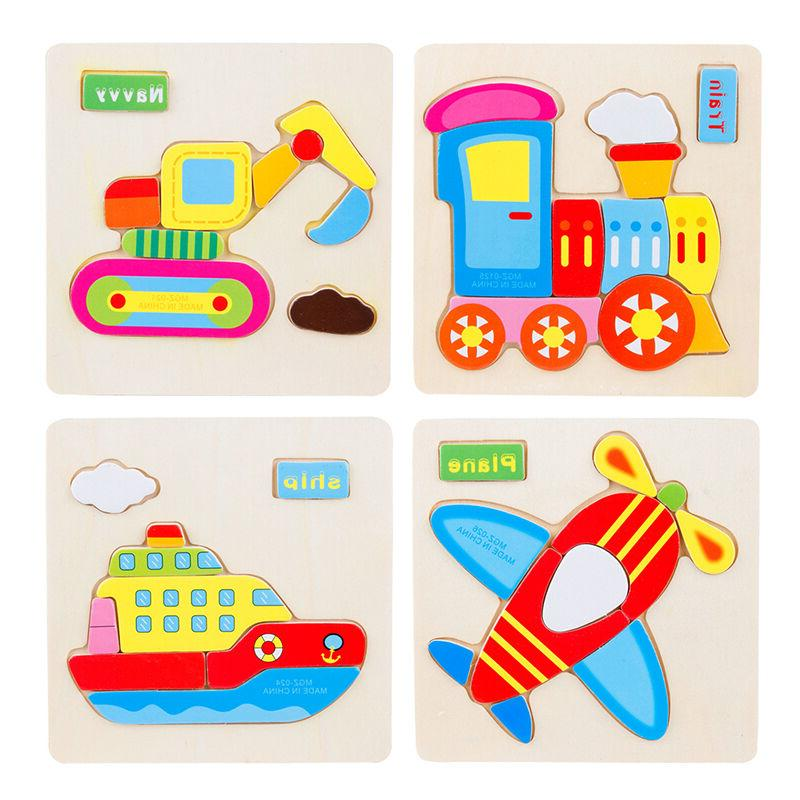 1Pc Kids Wooden Cartoon Animal Puzzles Toys for Children Jig