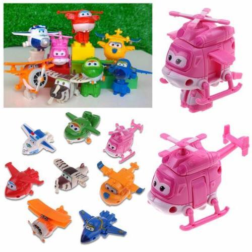 4/8/12Pcs Korea Super Transforming Plane Mini Characters Toys