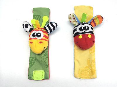 4pcs set Cute Infant Kids Wrist Bell Foot Sock Rattles Toy