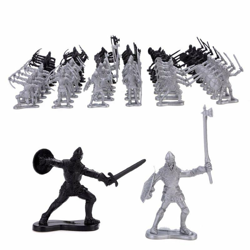 60Pcs Medieval Warriors Soldiers Figure Model Playset